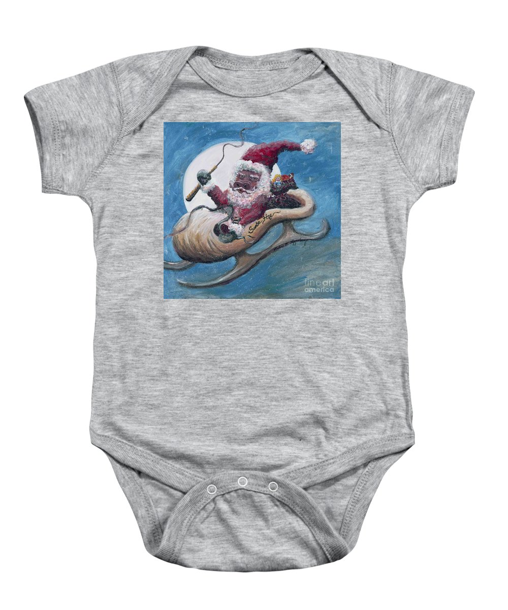 Christmas Baby Onesie featuring the painting Santa Hog by Nadine Rippelmeyer