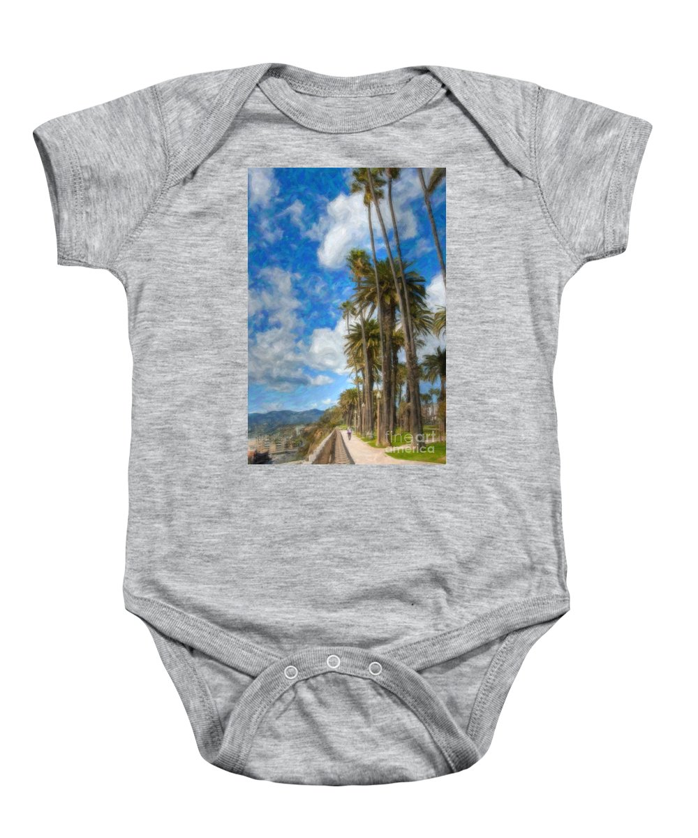 Looking North Baby Onesie featuring the photograph Santa Monica Ca Palisades Park Bluffs Palm Trees by David Zanzinger