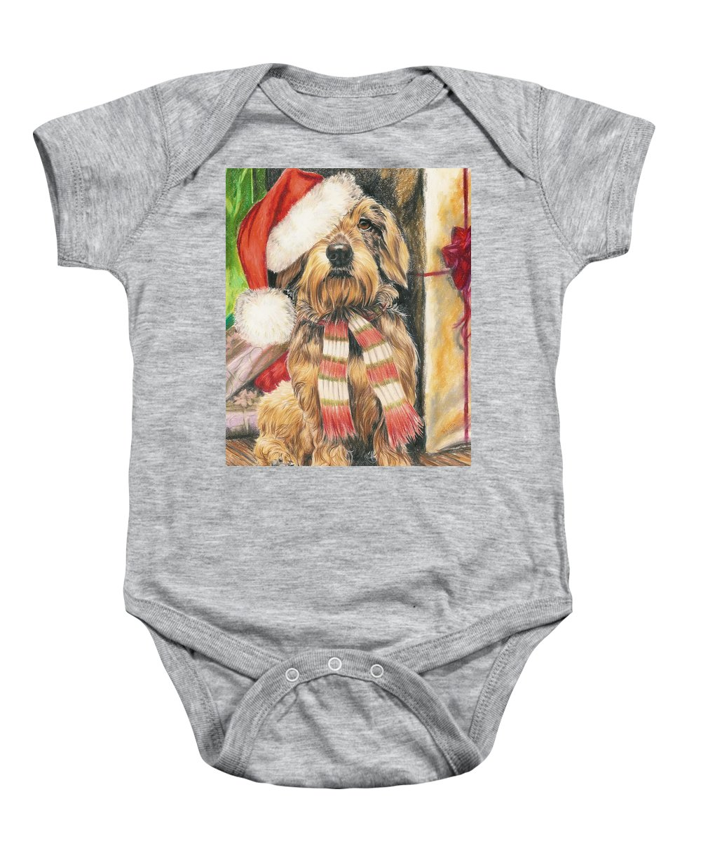 Hound Group Baby Onesie featuring the drawing Santas Little Yelper by Barbara Keith