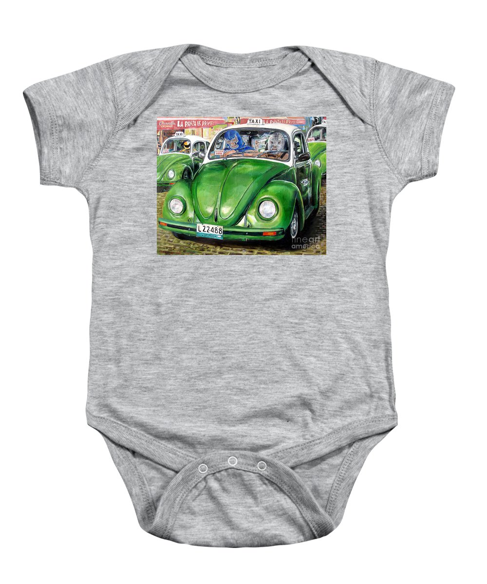Taxi Baby Onesie featuring the painting Santo Y Blue Demon by Nancy Almazan