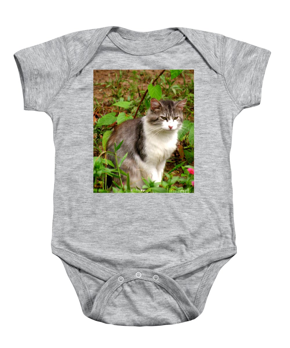 Cat Baby Onesie featuring the photograph Sassy by Donna Brown