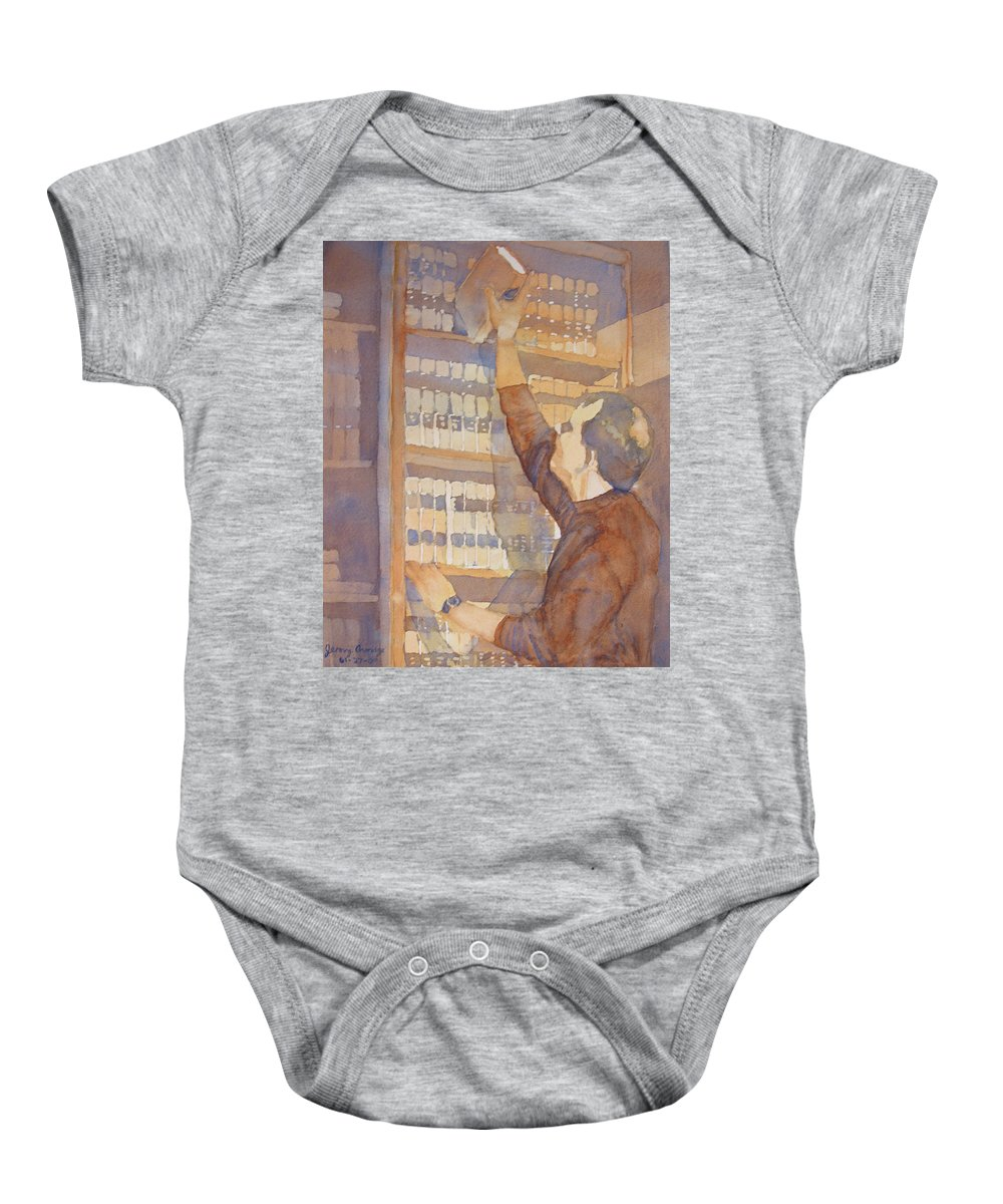 Law Baby Onesie featuring the painting Saturday At The Office by Jenny Armitage
