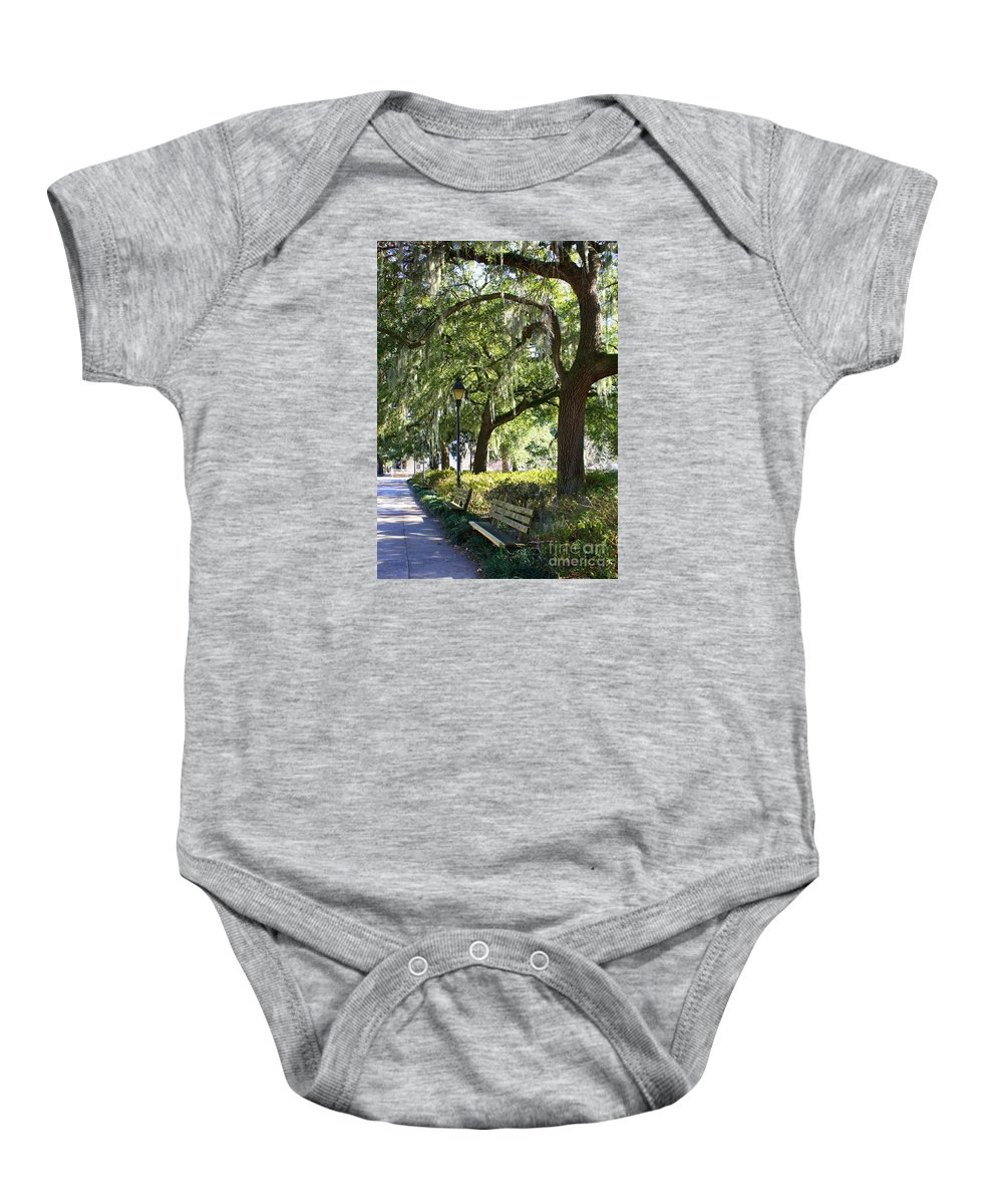 Parks Baby Onesie featuring the photograph Savannah Benches by Carol Groenen