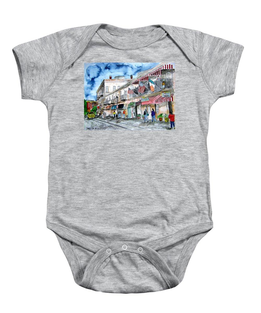 Pen And Ink Baby Onesie featuring the painting Savannah Georgia River Street by Derek Mccrea