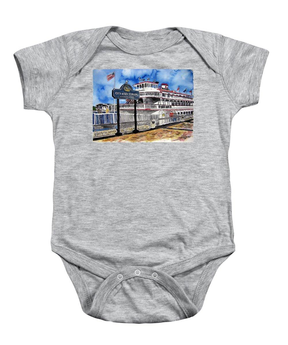 Savannah Baby Onesie featuring the painting Savannah River Queen Boat Georgia by Derek Mccrea