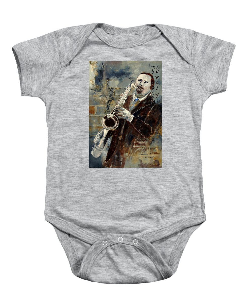 Music Baby Onesie featuring the painting Saxplayer 570120 by Pol Ledent