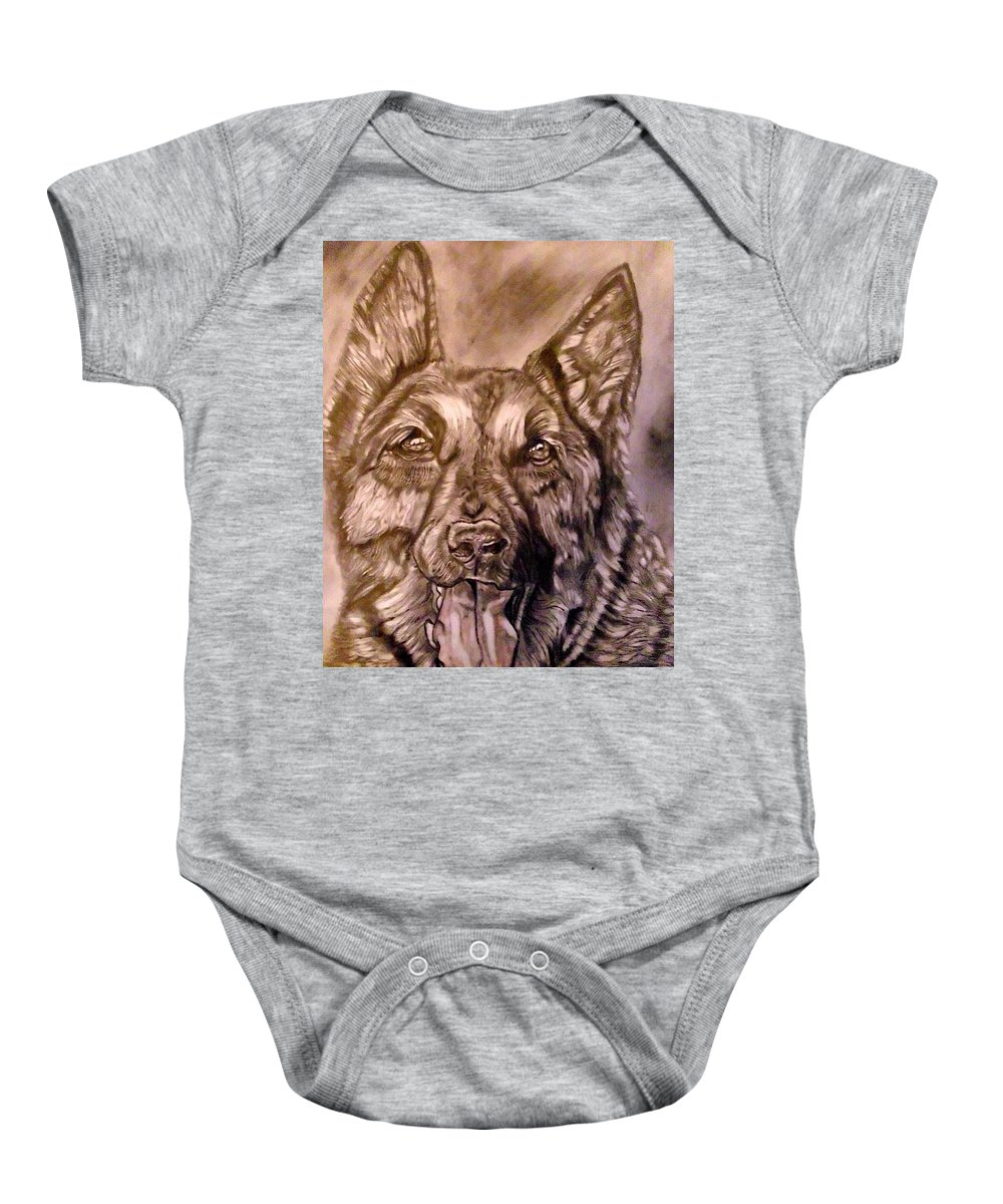 Dog Baby Onesie featuring the drawing Say Ahh by Herbert Renard