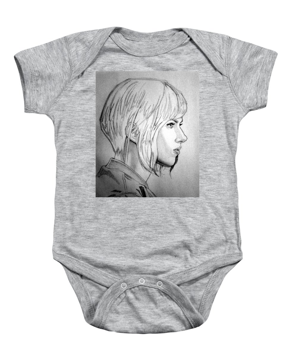 Portraits Baby Onesie featuring the drawing Scarlett Johansson As Major From Ghost In The Shell by Uzeir Mustafa