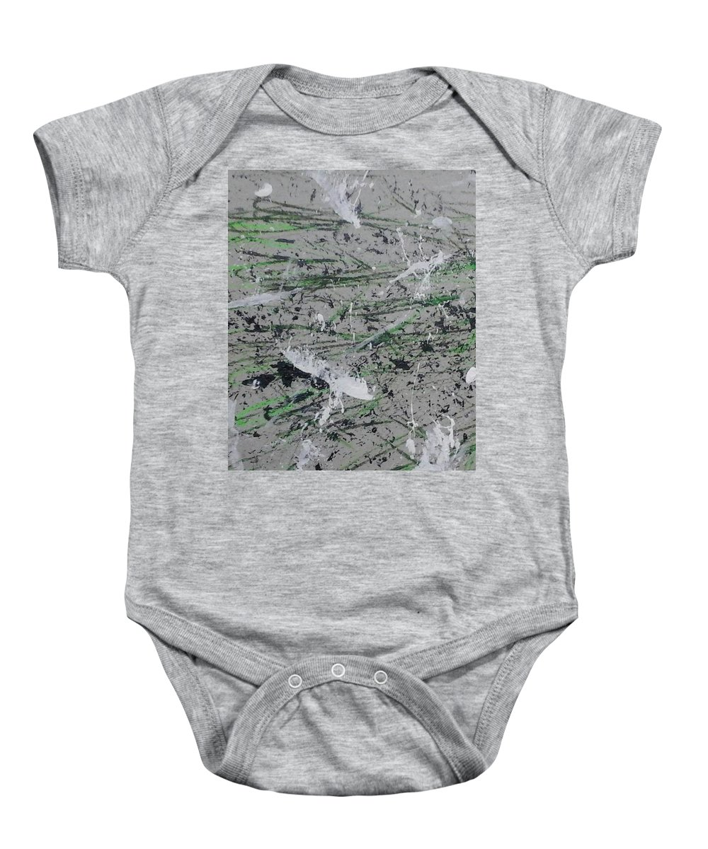 Green Baby Onesie featuring the painting Scat by A J