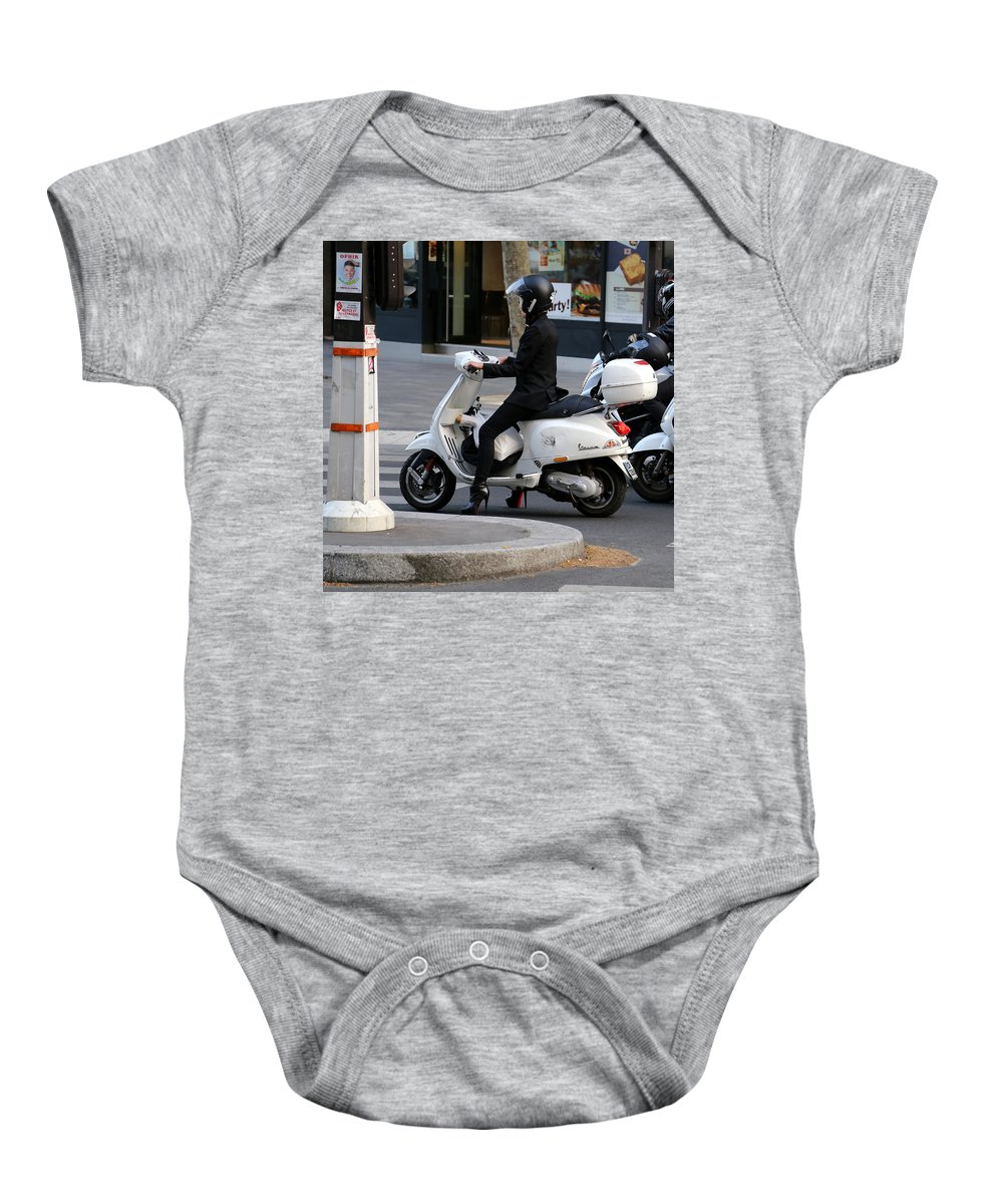 Paris Baby Onesie featuring the photograph Scooter Girl Paris 1 by Andrew Fare
