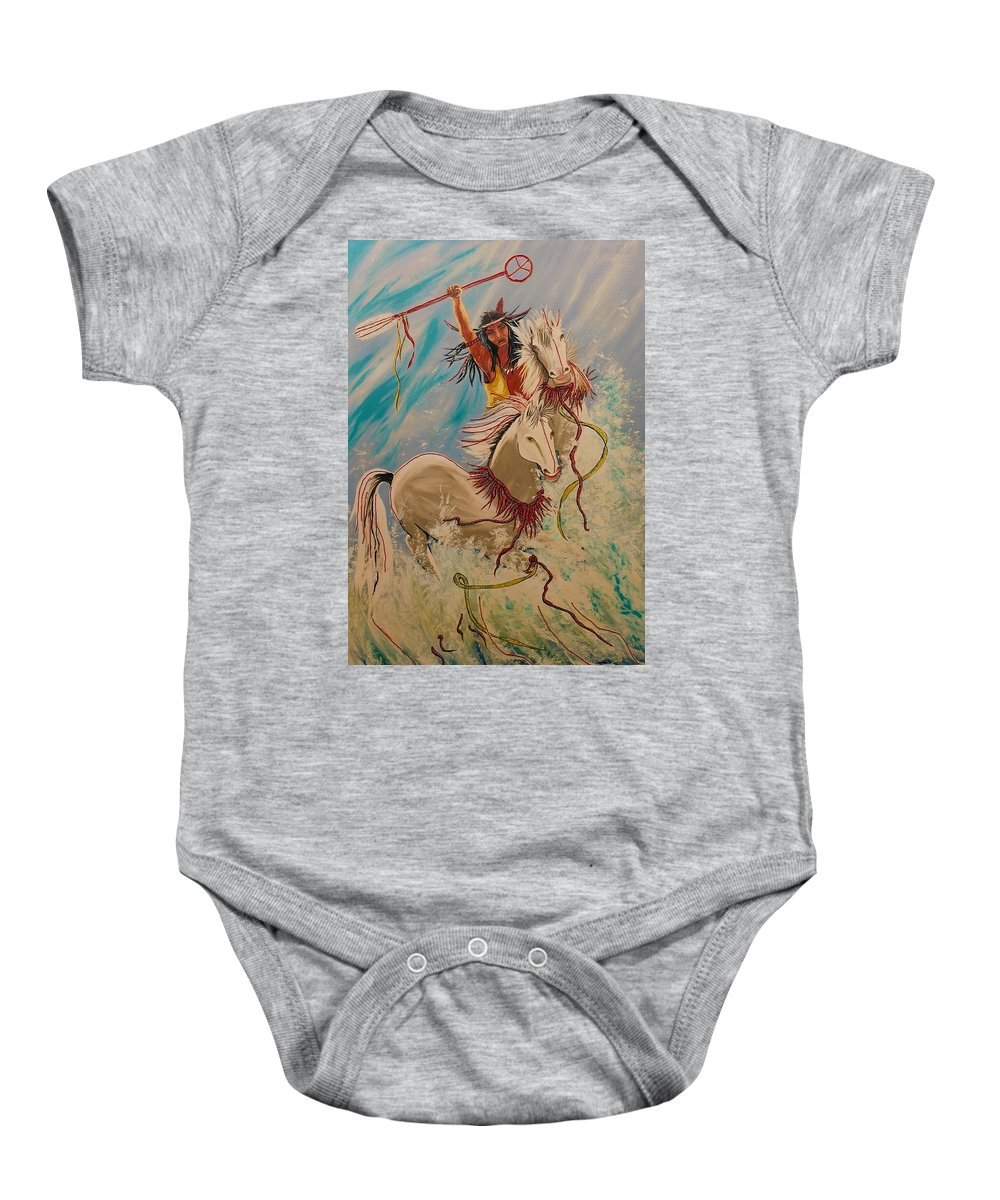 Horses Baby Onesie featuring the painting Scream Of Peace by V Boge