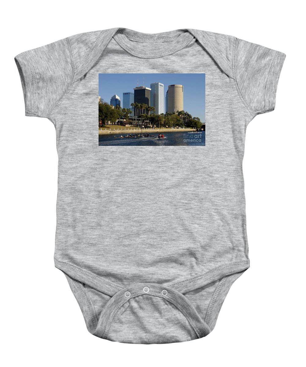 Sculling Baby Onesie featuring the photograph Sculling In Tampa Bay Florida by David Lee Thompson
