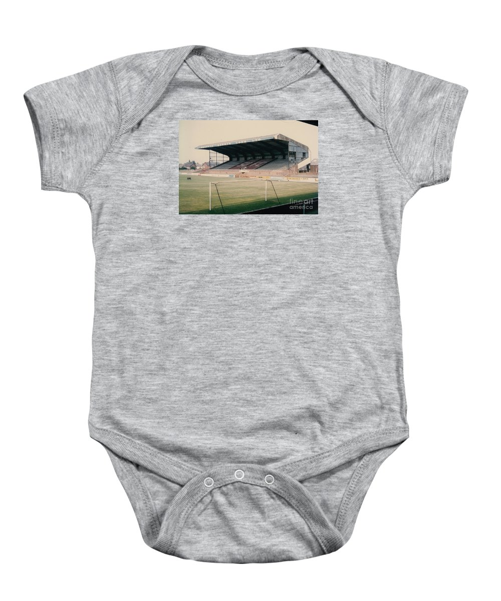 Baby Onesie featuring the photograph Scunthorpe United - Old Showground - East Stand 2 - 1970s by Legendary Football Grounds