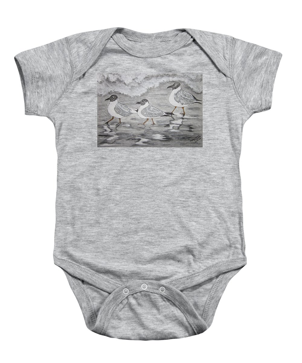 Sea Gulls Baby Onesie featuring the painting Sea Gulls Dodging The Ocean Waves by Kathy Marrs Chandler