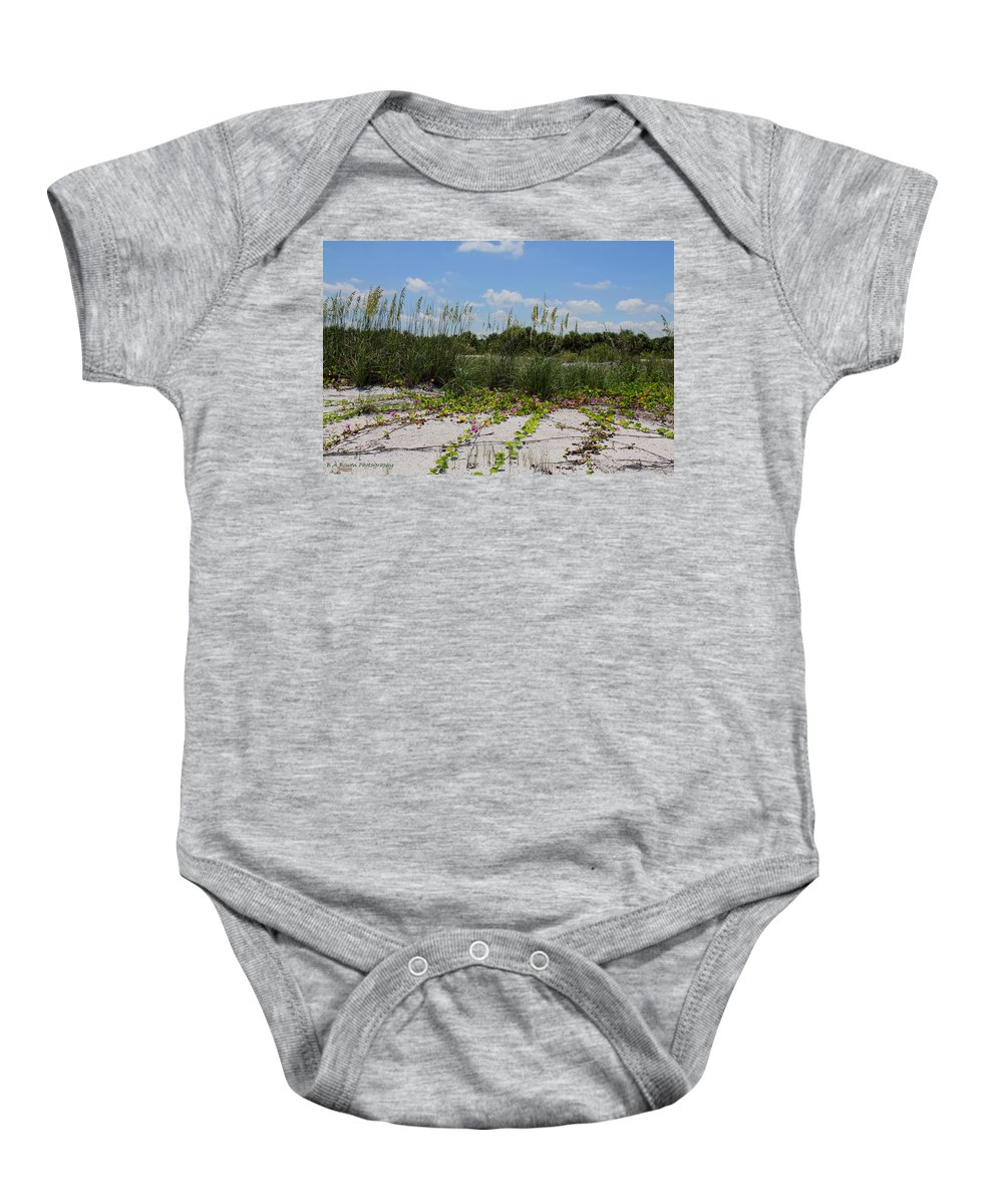 Beach Baby Onesie featuring the photograph Sea Oats And Blooming Cross Vine by Barbara Bowen