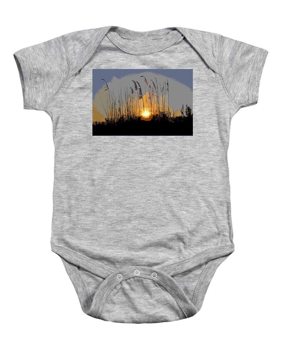 Sea Oats Baby Onesie featuring the painting Sea Oats At Sunset by David Lee Thompson