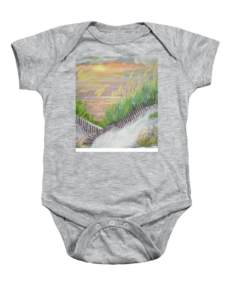 Seascape Baby Onesie featuring the painting Sea Oats by Hal Newhouser