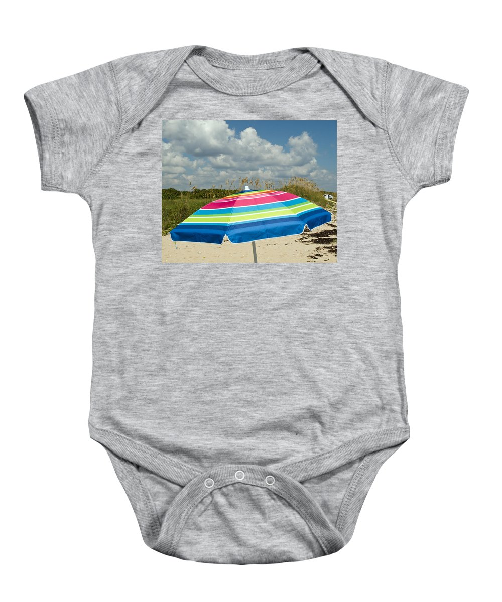 Florida; Beach; Coast; Shore; Atlantic; East; Waves; Sand; Dunes; Sea; Oats; Seaoats; Plant; Grass; Baby Onesie featuring the photograph Sea Oats On The Beach by Allan Hughes