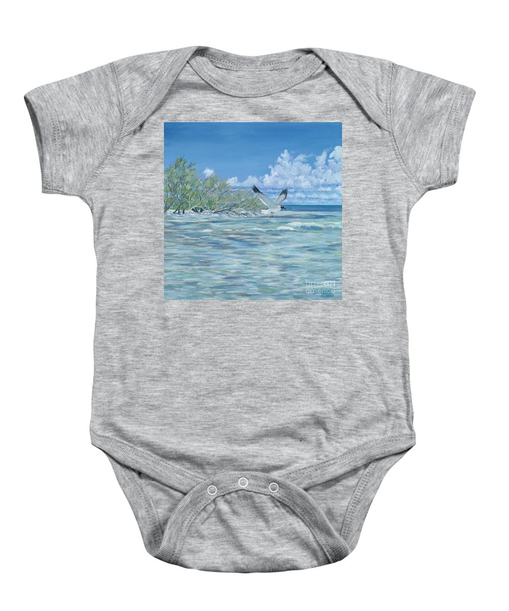 Seascape Baby Onesie featuring the painting Seablue by Danielle Perry