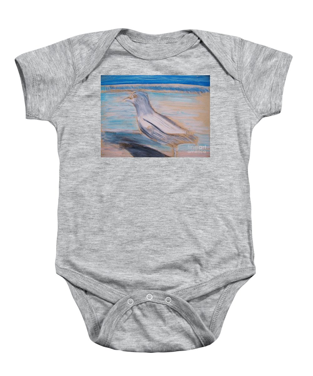 Seagull Baby Onesie featuring the painting Seagull On Seashore by Eric Schiabor