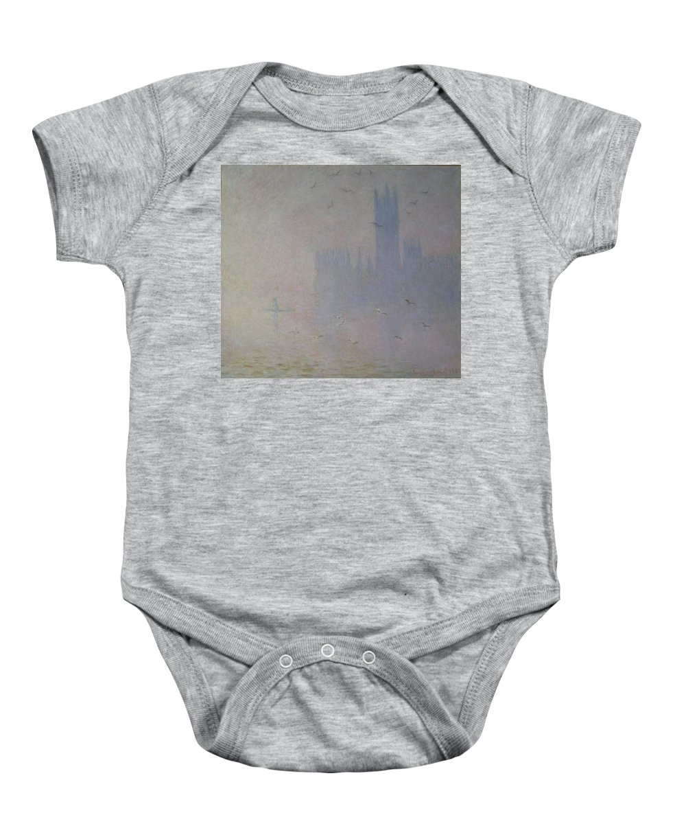 Claude Baby Onesie featuring the painting Seagulls Over The Houses Of Parliament by Claude Monet