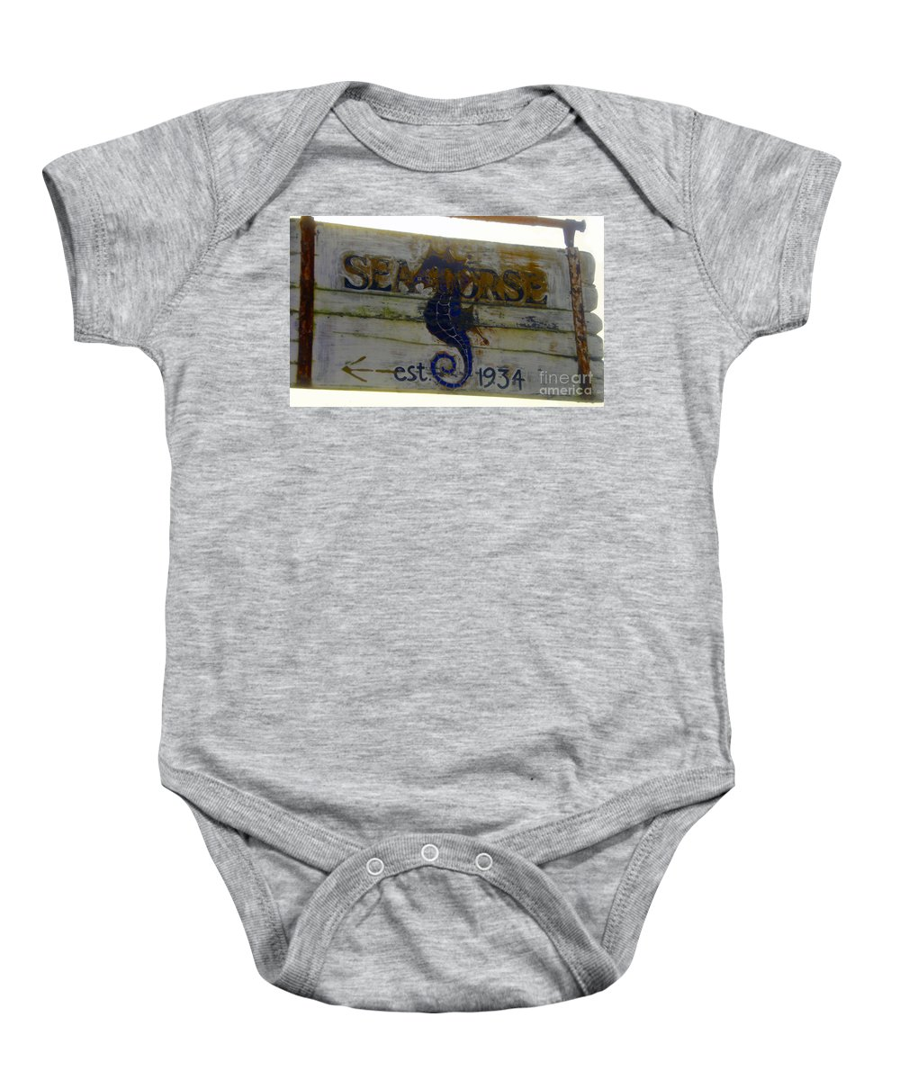 Seahorse Baby Onesie featuring the painting Seahorse Est. 1934 by David Lee Thompson
