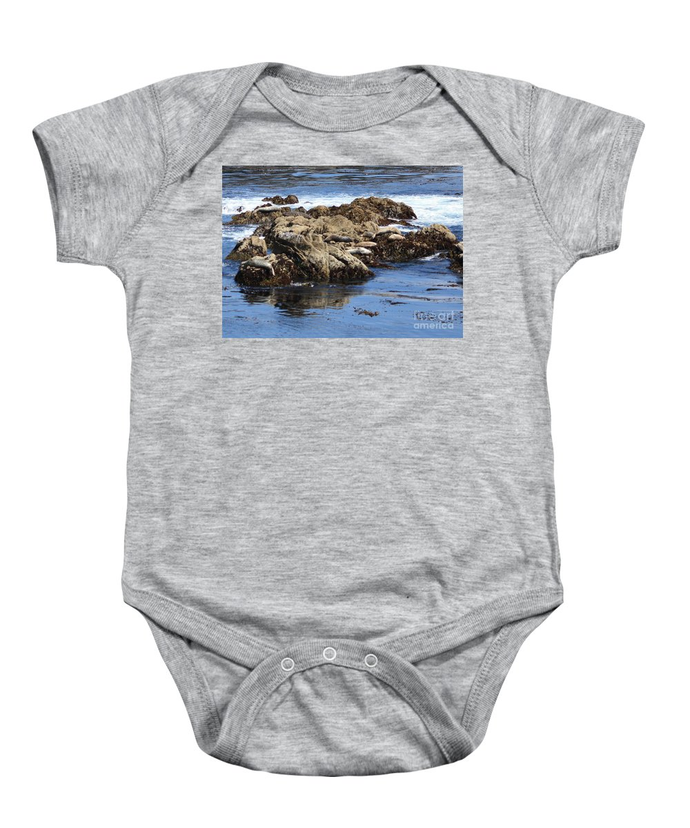 California Coast Baby Onesie featuring the photograph Seal Island by Carol Groenen