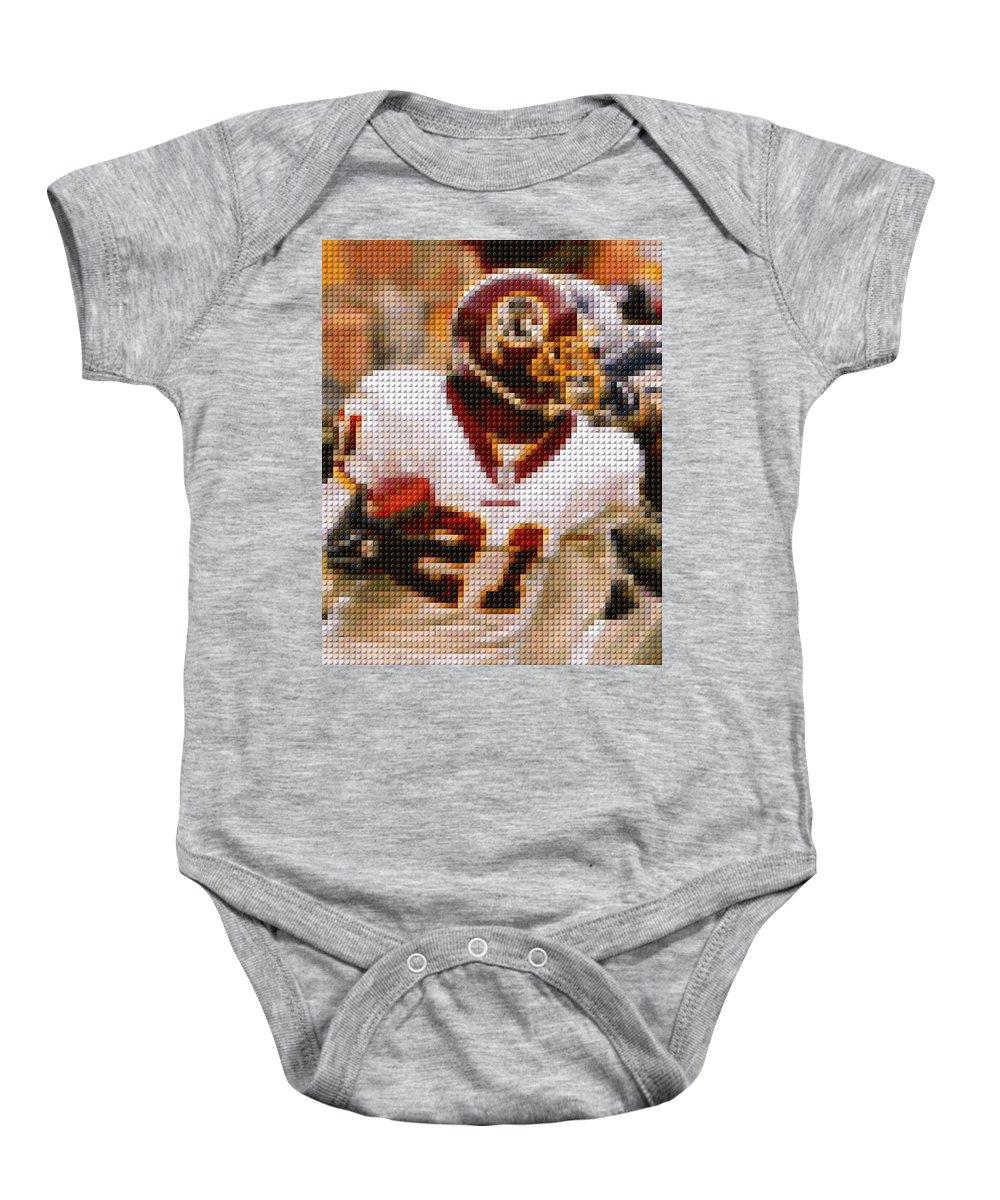 Washington Redskins Baby Onesie featuring the photograph Sean Taylor Lego Mosaic by Paul Van Scott