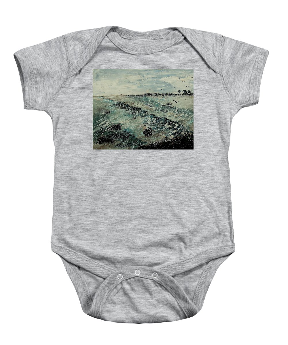 Sea Baby Onesie featuring the painting Seascape 459090 by Pol Ledent
