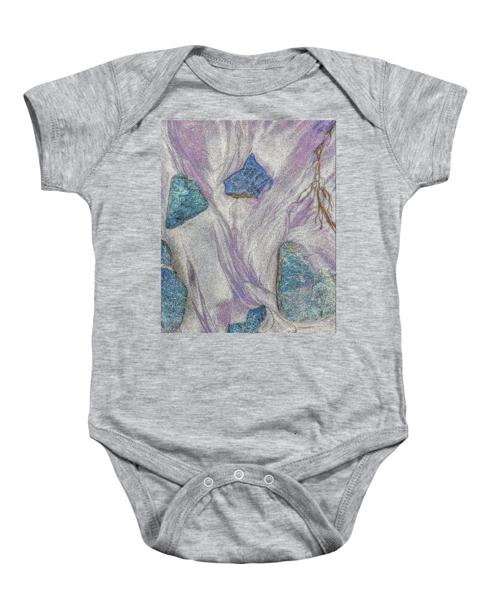 Seaside Baby Onesie featuring the photograph Seaside Rocks And Garnet Sand by Jim Fenton