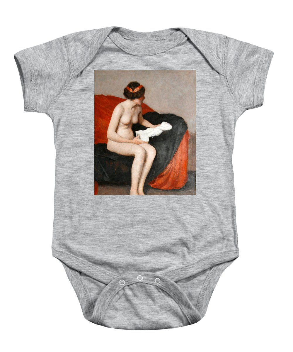 William Mcgregor Paxton Baby Onesie featuring the painting Seated Nude With Sculpture by William McGregor Paxton