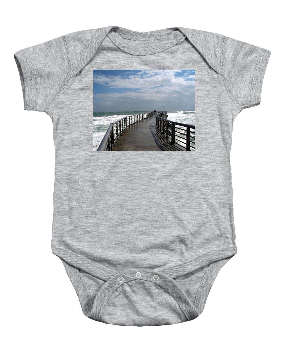 Walk; Solitary; Lonely; Sebastian; Inlet; Florida; Sea; Ocean; Water; Surf; Atlantic; Jetty; Waves; Baby Onesie featuring the photograph Sebastian Inlet On The Atlantic Coast Of Florida by Allan Hughes