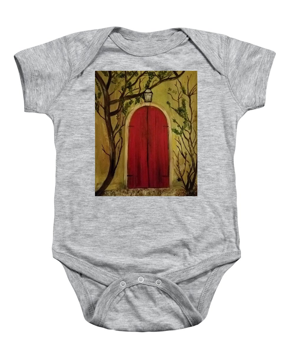 Door Baby Onesie featuring the painting Secret Door by Nicole Clark