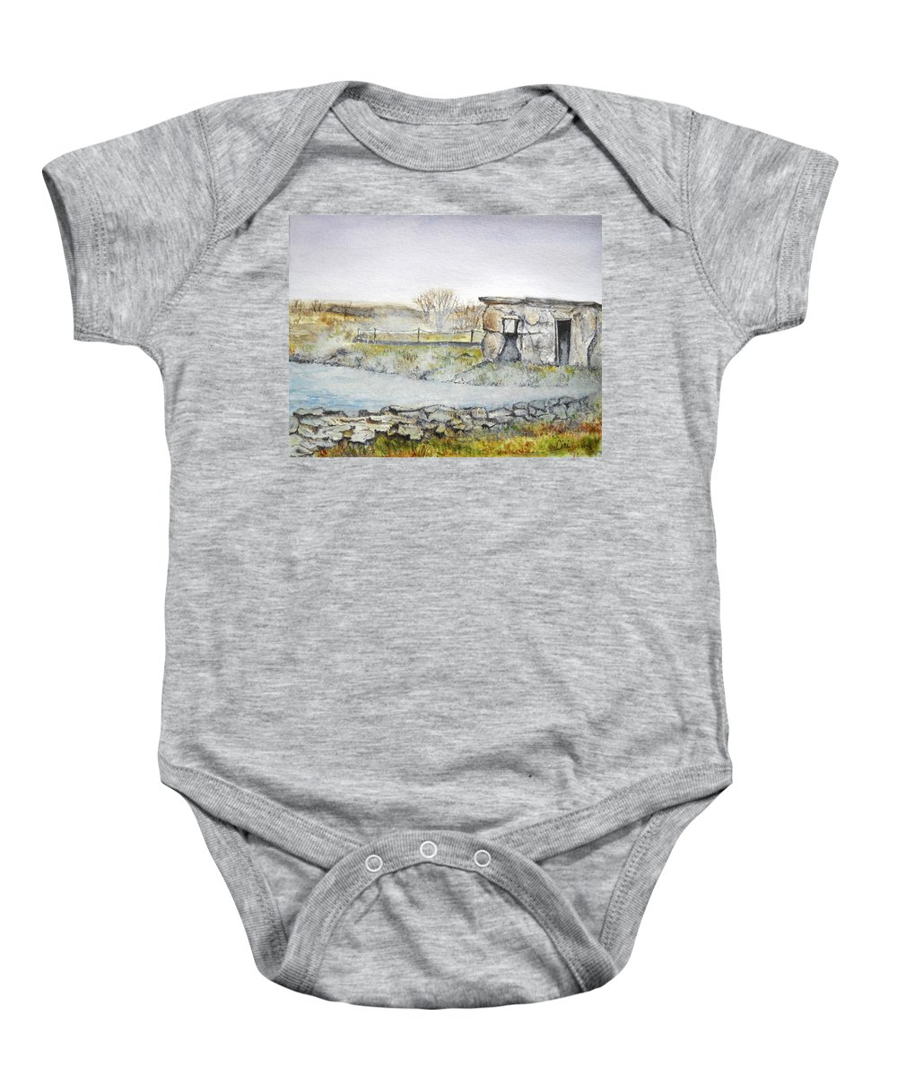 Peaceful Baby Onesie featuring the painting Secret Lagoon by Lisa Cini