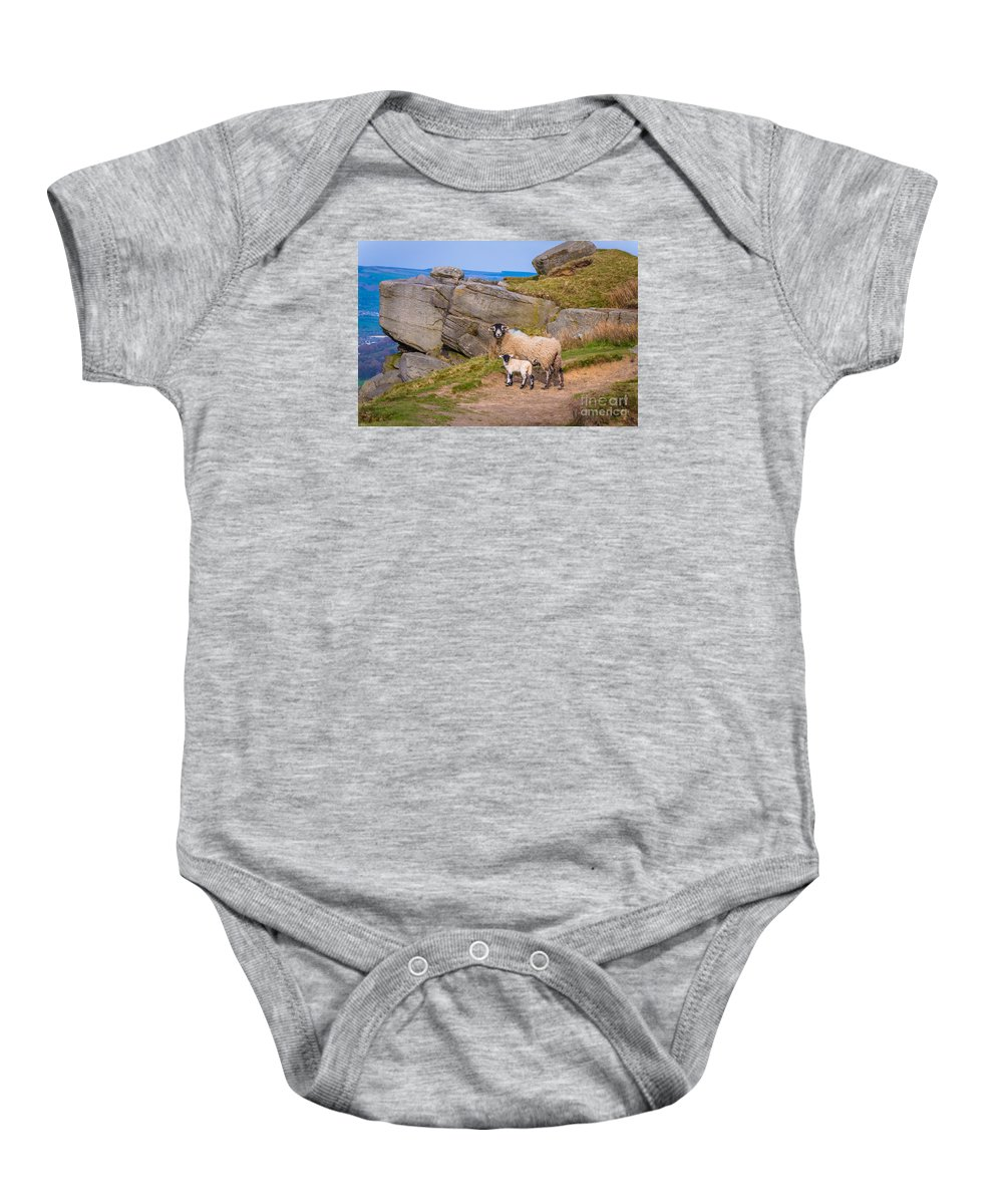 Cowling Baby Onesie featuring the photograph Seep And Lamb by Mariusz Talarek