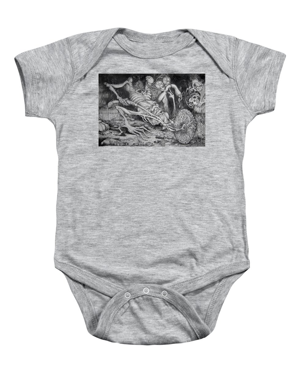 Surrealism Baby Onesie featuring the drawing Selfpropelled Beastie Seeder by Otto Rapp
