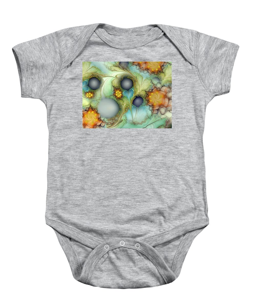 Abstract Baby Onesie featuring the digital art Sensorial Intervention by Casey Kotas