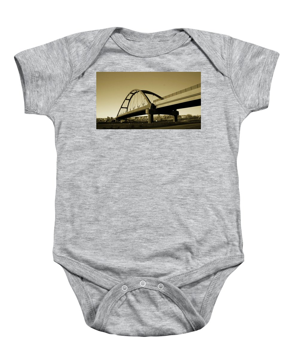 Sepia Baby Onesie featuring the photograph Sepia Treatment by Angus Hooper Iii