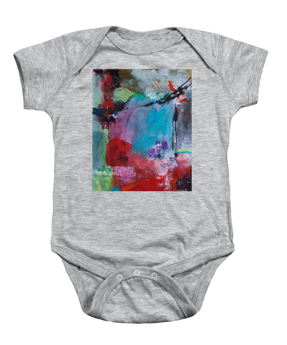 Abstract Baby Onesie featuring the painting Serendipity 008 by Donna Frost
