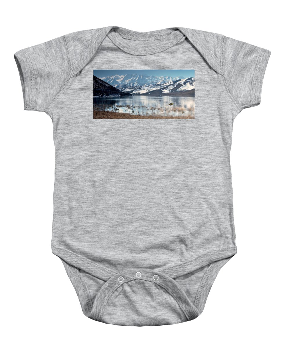 Landscape Baby Onesie featuring the photograph Serene Paddling by Scott Sawyer