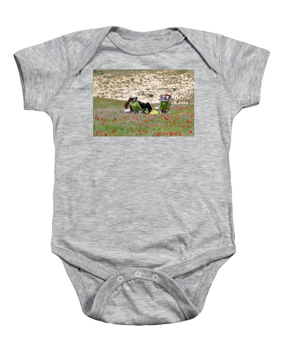 Serenity At Lachish Baby Onesie featuring the photograph Serenity At Lachish by Dubi Roman