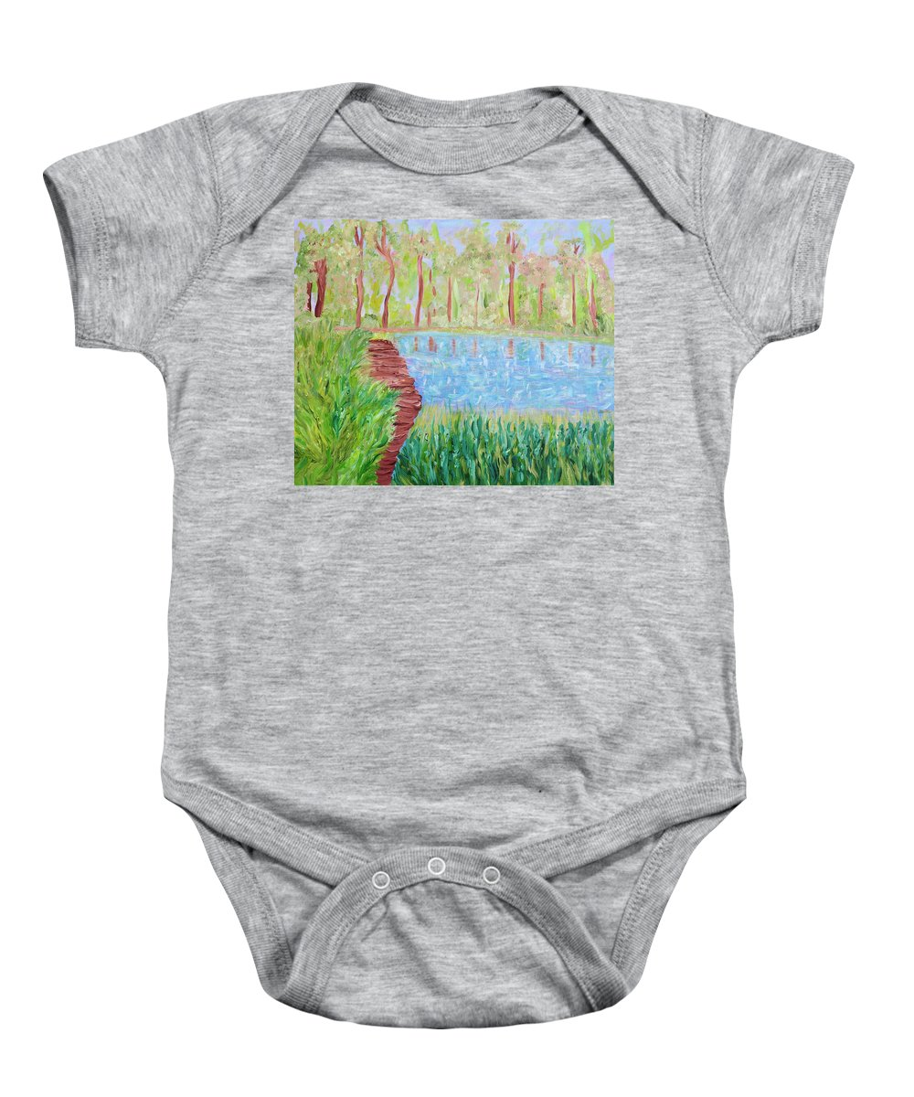 Lake Baby Onesie featuring the painting Serenity Now by Sara Credito