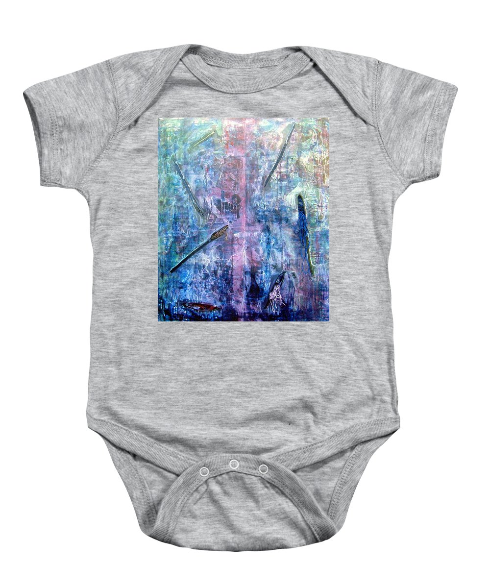 Abstract Baby Onesie featuring the painting Seven Zippers by Nancy Mueller