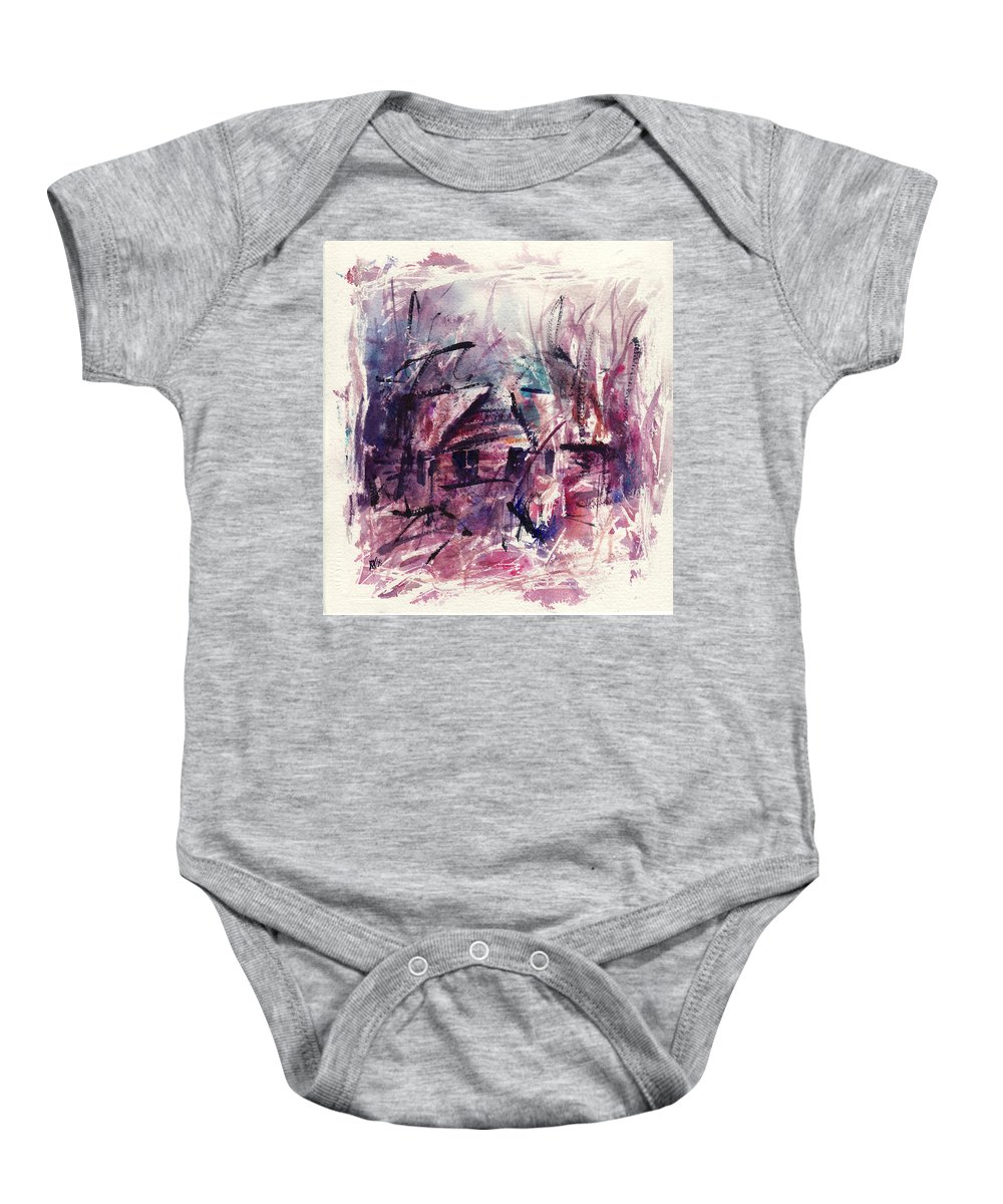 Shack Baby Onesie featuring the painting Shack First Movement by Rachel Christine Nowicki