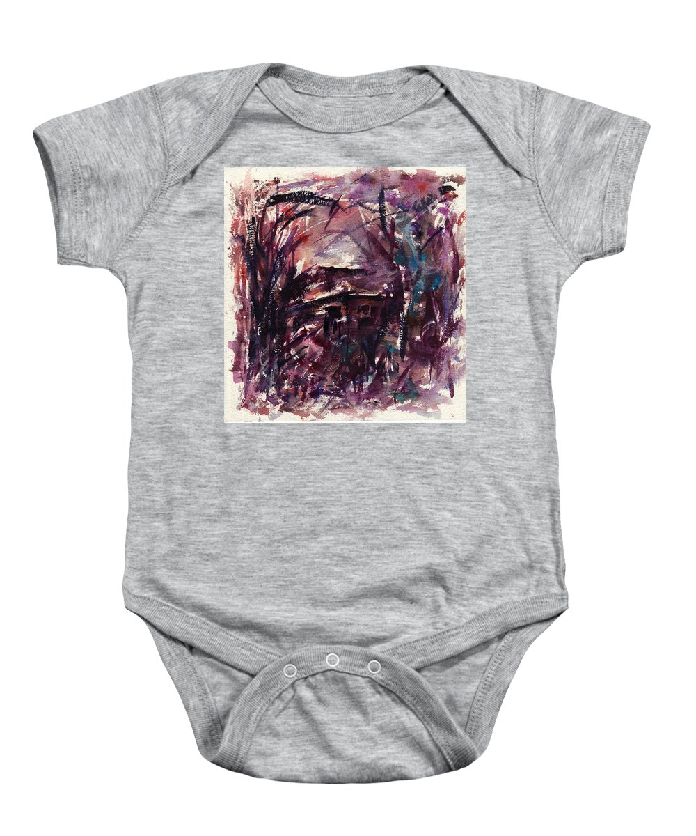 Shack Baby Onesie featuring the painting Shack Second Movement by Rachel Christine Nowicki