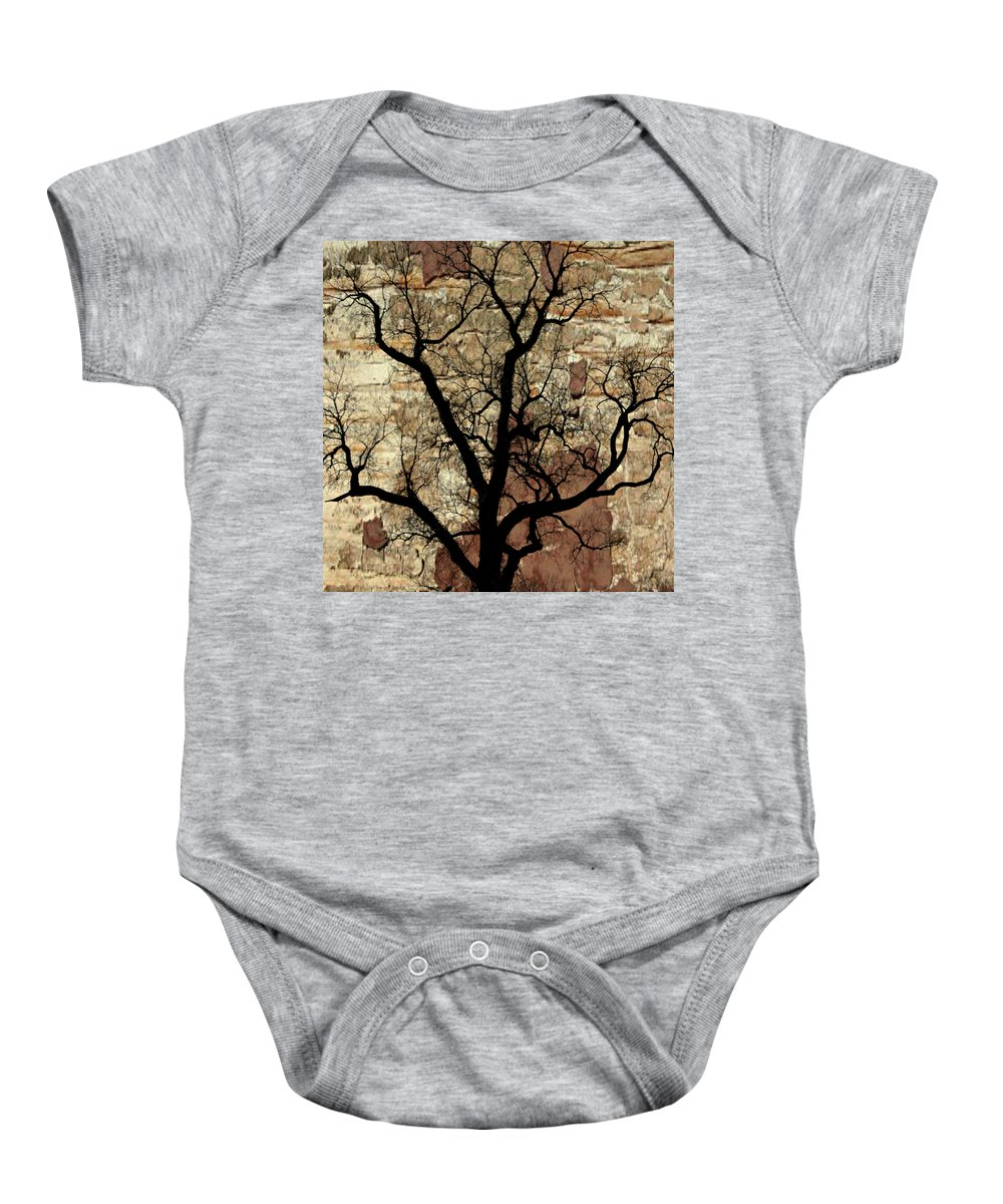 Tree Baby Onesie featuring the photograph Shadow Wall by Marty Koch