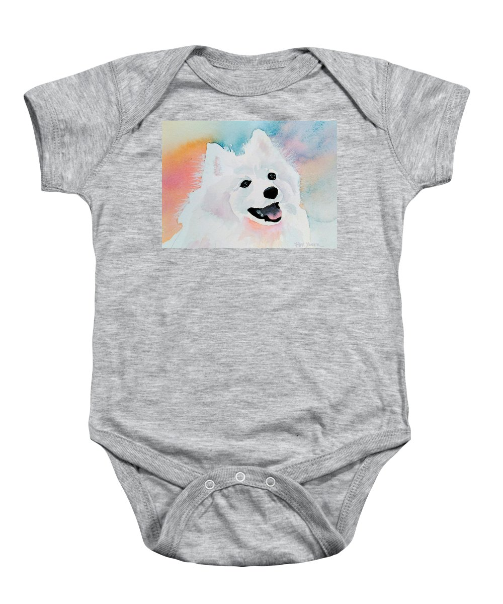Samoyed Baby Onesie featuring the painting Shasta, A Prince Of A Dog by Pat Yager