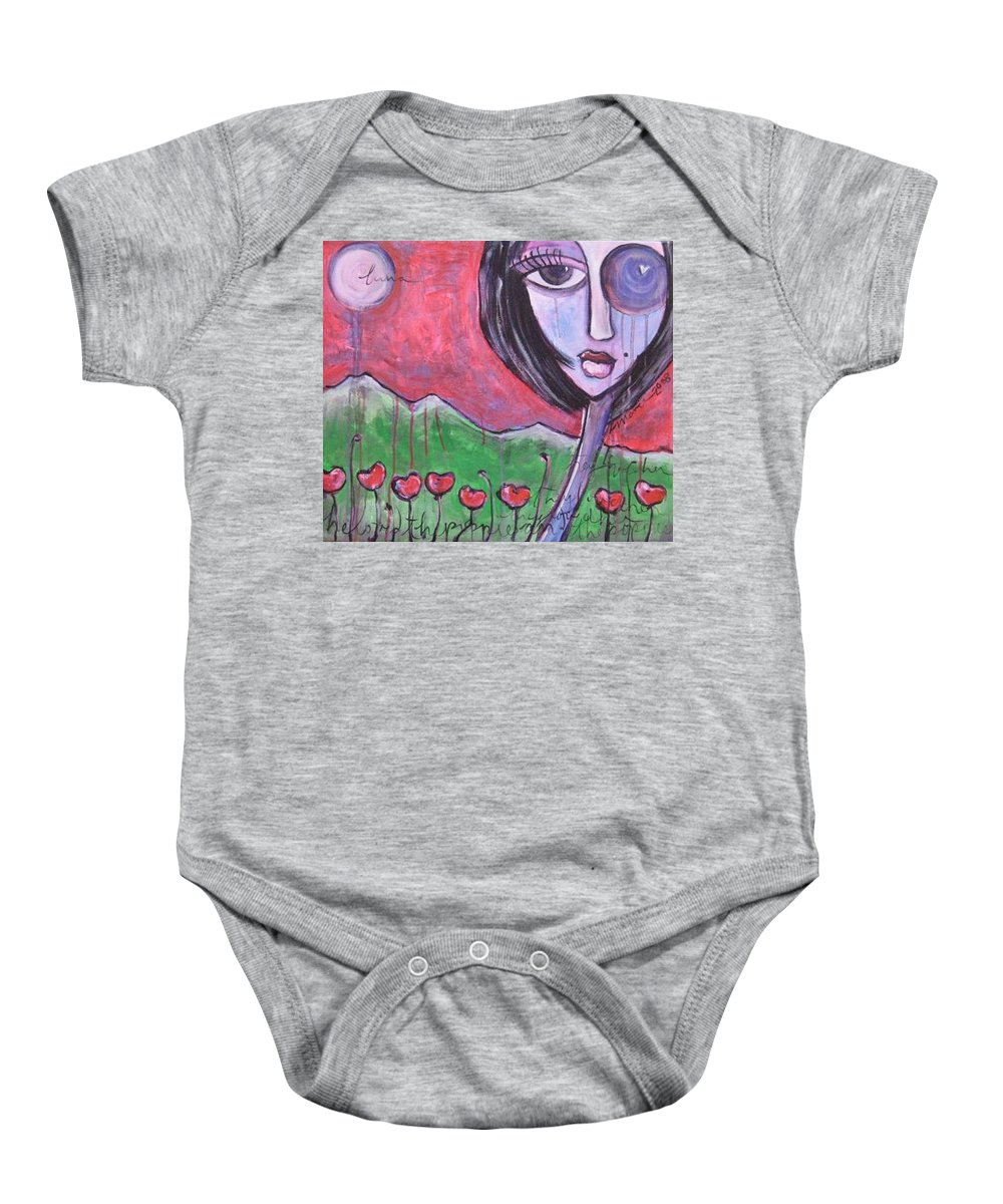 Poppies Baby Onesie featuring the painting She Loved The Poppies by Laurie Maves ART