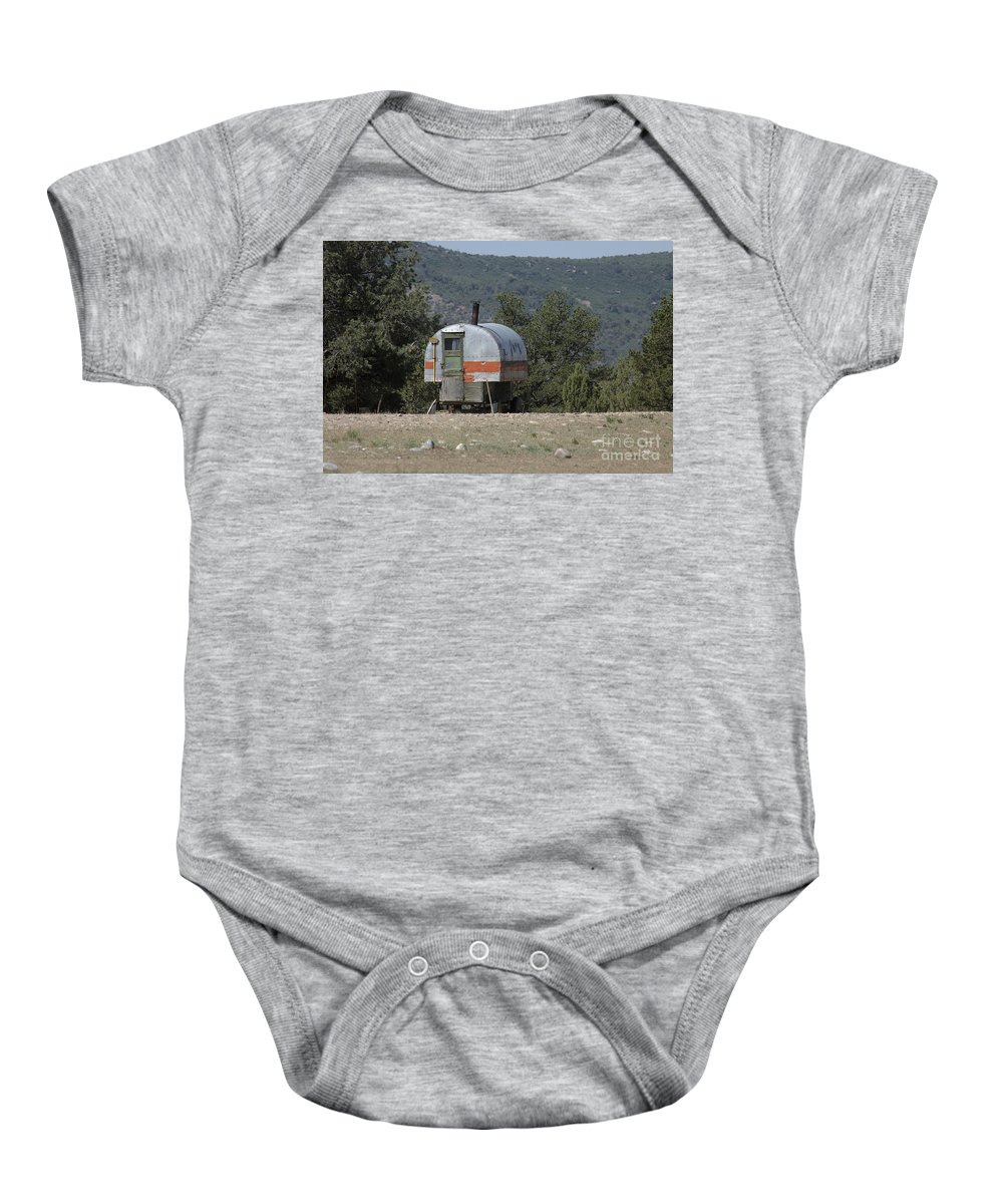 Sheep Baby Onesie featuring the photograph Sheep Herder's Wagon by Jerry McElroy