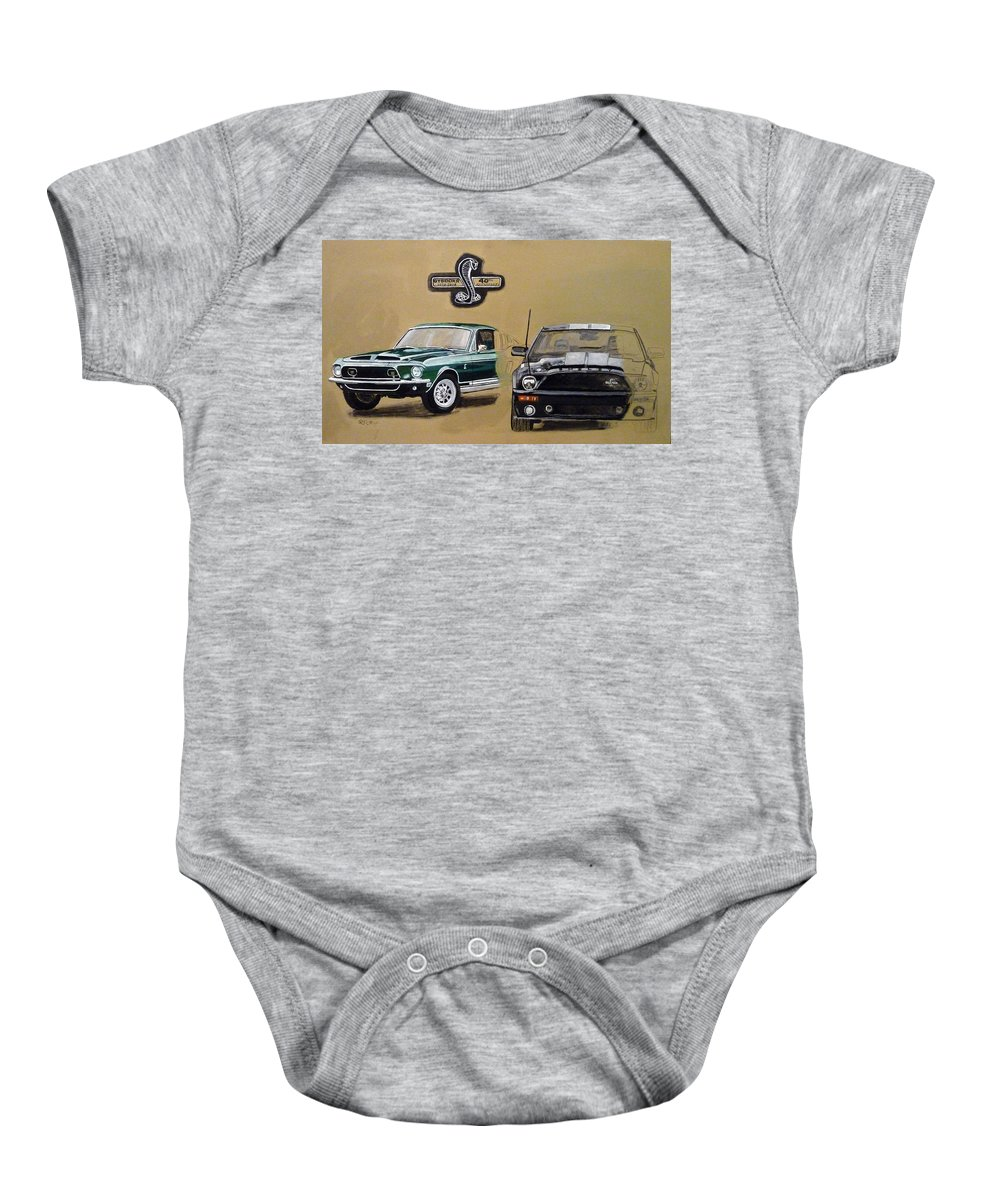 Cars Baby Onesie featuring the painting Shelby 40th Anniversary by Richard Le Page